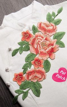 Japanese Embroidery Kimono Image large - Full Bloom Peony patch Flower patch sew on patch embroidered patch applique Size : 16 cm X cm Quantity : 1 patch Rose Embroidery, Japanese Embroidery, Embroidery Fashion, Silk Ribbon Embroidery, Embroidery Stitches, Embroidery Patterns, Border Embroidery Designs, Machine Embroidery Designs, Applique Designs