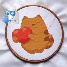 cat cross stitch pattern, ginger kitten cross stitch, funny valentines card, Valentine's Day cross stitch pattern, nursery cross stitch, PDF