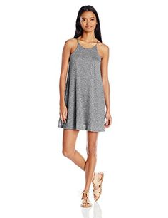 Derek Heart Juniors Sleeveless Halter Neck Marled Trapeze Dress BlackWhite Large *** Check out the image by visiting the link. Note: It's an affiliate link to Amazon.