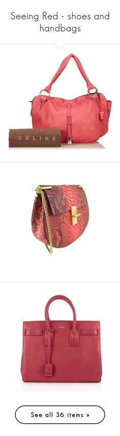 """Seeing Red - shoes and handbags"" by snobswap ❤ liked on Polyvore featuring bags, handbags, tote bags, wallets, home, home decor and shoulder bags"