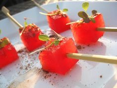Peppered watermelon cubes are perfect on any summer day