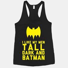 I Like My Men Tall Dark And BATMAN Womens Med black racerback