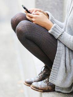 Grey ribbed tights