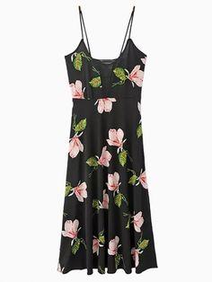 Floral Slit Spaghetti Strap Maxi Dress