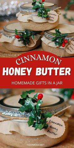 Delicious handmade food gift that requires no baking! Cinnamon Honey Butter makes a beautiful gift in a jar when paired with homemade bread or pound cake. You'll have a delicious gift from the heart that took less than an hour to make from start to finish! Get the easy recipe + gift jar tutorial at TidyMom.net Christmas Food Gifts, Homemade Christmas, Christmas Crafts, Homemade Food Gifts In A Jar, Recipe Gift, Cinnamon Honey Butter, Chocolate Dipped Marshmallows, Biscuit Mix, Jar Gifts