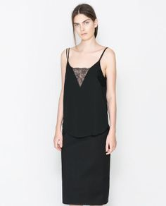 Image 1 of LINGERIE-STYLE TOP WITH DOUBLE STRAP from Zara