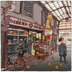 Illustrator Tsuchimochi maakte een eigentijdse versie van de honderd Gezichten op Edo van Hiroshige. Getekend in een duidelijk eigen stijl en even prachtig.