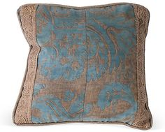 One Kings Lane - Haskell Antiques - Blue Fortuny Fabric Pillow II