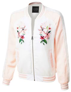 Make a statement in this ultra lightweight floral embroidery zip up bomber jacket. Put a feminine, vintage-inspired spin on the bomber trend in a satin jacket detailed with delicate floral embroidery. Feature - 100% Polyester - Ultra lightweight, super soft material feels amazing on the skin / Fully-lined - Full zip up closure - 2 Pockets / Ribbed trim on neckline, cuffs and bottom hem - Hand wash cold / Gentle cycle / Do not use bleach / Tumble dry medium / No iron - Please look at the…