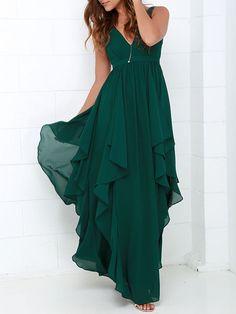 Shop Dark Green V Neck Ruffle Layer Maxi Dress from choies.com .Free shipping Worldwide.$39.99