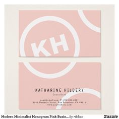 Modern Minimalist Monogram Pink Business Card