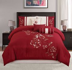 Chezmoi Collection 7Pc Embroidered Red Floral Hibiscus Comforter Set, Queen