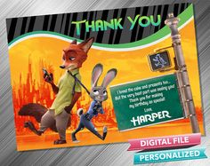 Zootopia Thank you card by kidspartydiy on Etsy