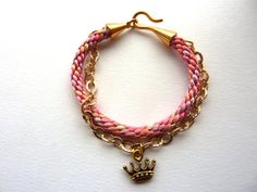 Kumihimo braided bracelet in Peach multi colour by rinkkajewellery, €30.00