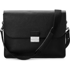 ASPINAL OF LONDON Savile pebble-embossed leather messenger bag (1,170 CAD) ❤ liked on Polyvore featuring bags, messenger bags, black, genuine leather messenger bag, lock bag, locking messenger bag, shoulder strap bag and messenger bag