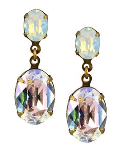 Gold Plated Oval Dangle Post Earrings in White Opaque and Moonlight Swarovski Elements Crystal
