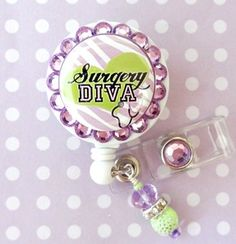 SURGICAL TECH RETRACTABLE ID REEL BLING BADGE HOLDER with charm.....WANT IT!!!!!!!