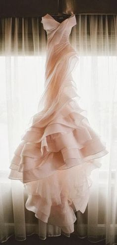 Brides dream about having the most appropriate wedding ceremony, however for this they need the ideal wedding gown, with the bridesmaid's dresses enhancing the wedding brides dress. Here are a number of ideas on wedding dresses. Pink Wedding Dresses, Bridal Dresses, Prom Dresses, Blush Wedding Dresses, Rose Gold Wedding Dress, Puffy Dresses, Wedding Blush, Pink Gowns, Tulle Wedding