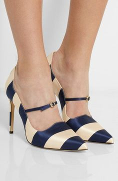 Renee Striped Satin Pumps