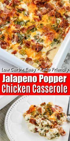 Keto Jalapeno Popper Casserole Jalapeno Poppers, Jalapeno Popper Chicken, Low Carb Recipes, Diet Recipes, Chicken Recipes, Cooking Recipes, Healthy Recipes, Keto Chicken, Bon Appetit