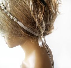 Bridal Rhinestone and Pearl headband Wedding by ADbrdal on Etsy, $36.00