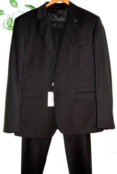 Ferre Black Striped Men's Wool Suit Two Buttons Blazer Italian Pants Size 46 #GianfrancoFerre #TwoButton