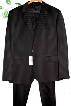 Ferre Black Striped Men's Wool Suit Two Buttons Blazer Italian Pants Size 46 #GianfrancoFerre #TwoButton