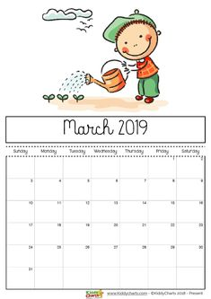 March printable 2019 calendar - girl watering her garden with a watering can. She can come and help me anyday! #printables #kidsprintables #2019calendar
