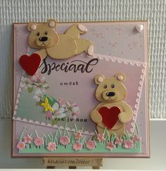 knutsels van zolder: hartjes Kids Cards, Baby Cards, Birthday Card Drawing, Marianne Design Cards, Bear Card, Bear Crafts, Kids Birthday Cards, Animal Cards, Pretty Cards