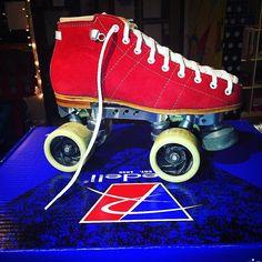Custom Derby skates ready to go! @_zombree_ @beachcitiesrollerderby #rollerderby @riedellroller #derbygirl #redsuede #madeinUSA #custom by moxiskateshop