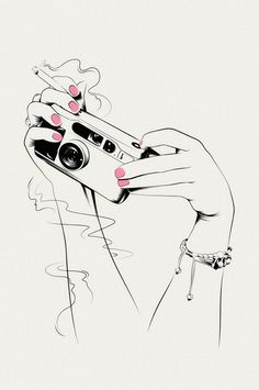 Line Drawing of Hands Holding Camera and Cigarette with Pink Painted Nails