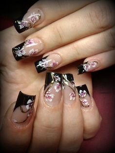 French Manicure with black tips and Cherry Blossoms.