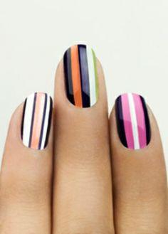 Colourful stripey nail art