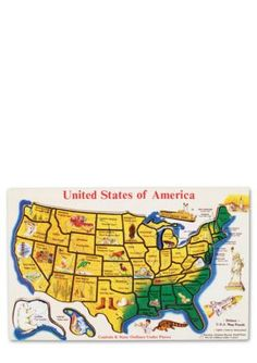 Melissa  Doug  Wooden USA Map Puzzle