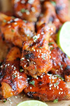 Baked Honey Sriracha Wings - An amazing combination of sweetness and spiciness in every bite, and they're baked to absolute crisp perfection! @Trent Butts-Ah Rhee