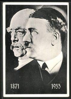 old postcard: AK Portrait Fürst Otto von Bismarck 1871, Portrait Führer Adolf Hitler 1933