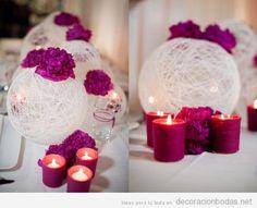 Decoración DIY de boda con globos de hilo, velas y flores