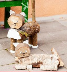 Bildergebnis für topp bastelbücher ländliche winterwelt - Another! Wood Log Crafts, Wood Slice Crafts, Wood Projects, Woodworking Projects, Craft Projects, Book Crafts, Diy And Crafts, Wood Animal, Wood Creations
