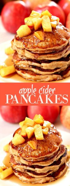 Apple Cider Pancakes – sweet and fluffy pancakes made with apple cider and topped with cinnamon sugar apples! Perfect fall weekend breakfast!