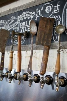Why have regular beer tap when  you can use antique tools like this?