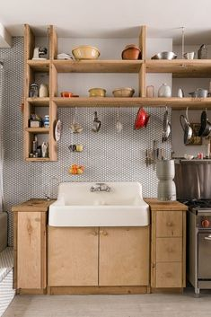 above a lot of inspiration about unique kitchen shelf shelves, so sure you don't want to replace it with a new kitchen shelf design like above? Tiny House Kitchen, Kitchen Design Small, Kitchen Remodel, Kitchen Design, Kitchen Backsplash, Kitchen Shelf Design, Kitchen Trends, Kitchen Tiles Backsplash, Minimalist Kitchen