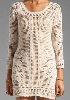 Crochet Dress in Filet Crochet…. Filet Crochet, Hand Crochet, Knit Crochet, Mode Crochet, Wedding Dress Patterns, Dress Wedding, Prom Dress, Little Dresses, Trendy Dresses
