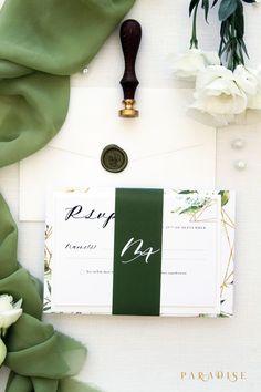 elegant rustic chic spring wedding invitations/ green modern bold spring wedding invitations