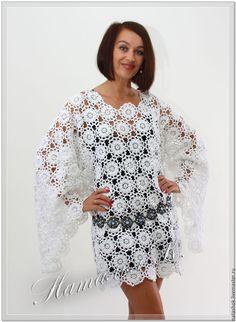 Купить Кружевная туника - белый, платье, туника, кружева, кружево, кружевное платье, туника крючком