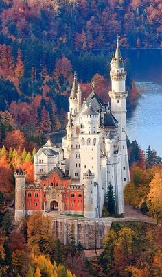 "Neuschwanstein Castle Neuschwanstein Castle, Germany, built for King Ludwig II between 1869 and 1886 on a rugged cliff against a scenic mountain backdrop, was intended to ""embody the true spirit of the medieval German castle"", as the king wrote in a letter to Richard Wagner."