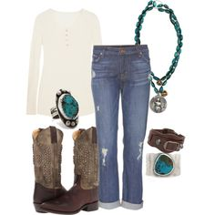 """""""Simple style: a basic henley, boyfriend jeans, and boots"""""""