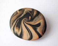 Tiger print polymer clay brooch dramatic swirl scarf by Lagneys, £10.00