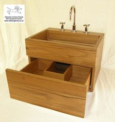 Bespoke teak vanity unit and wash stand with drawer to fit around waste