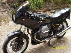 My first Guzzi 92 MK V Lemans owned for 17 years. Sold when when the ride position got to hard on the old body. Replaced with the 03 EV Cali.