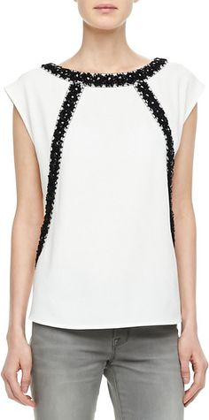 Marc By Marc Jacobs White Kisa Contrast embroidery Blouse
